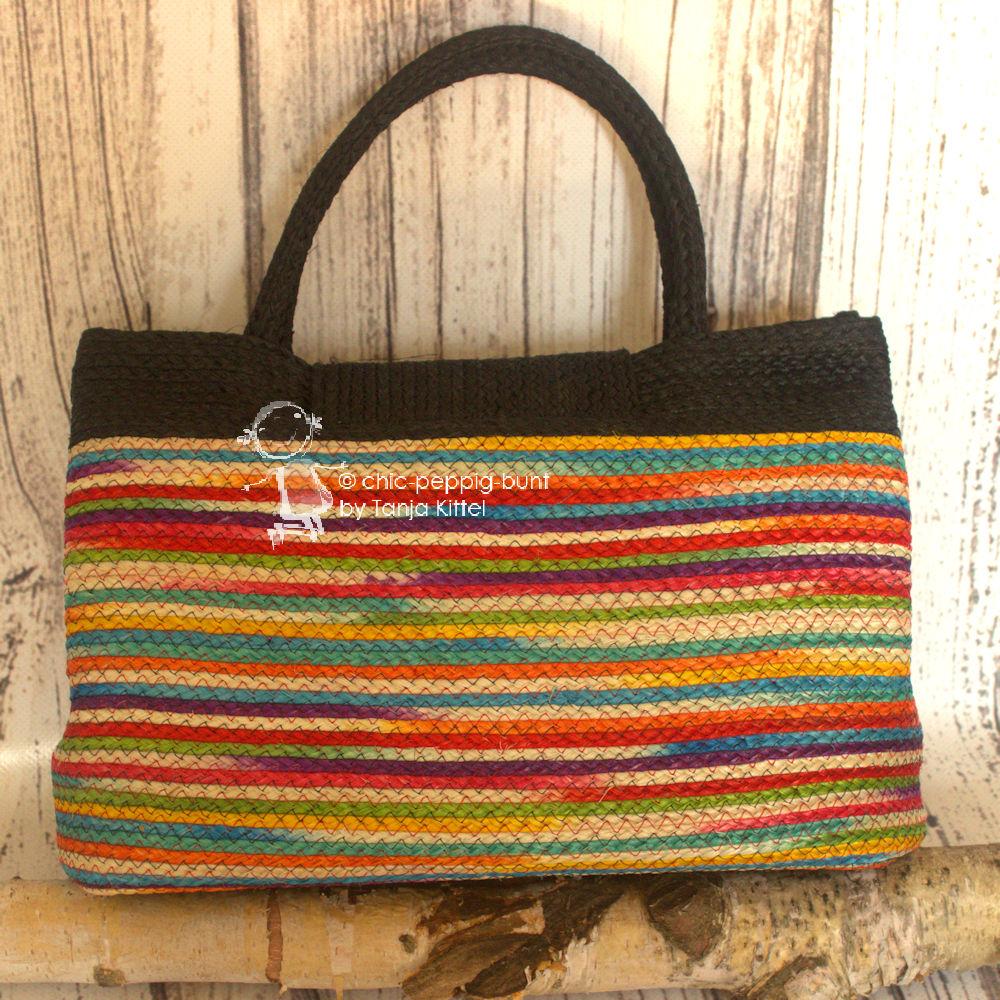 flippige sisal handtasche ausgefallene bunte form farbe chic peppig. Black Bedroom Furniture Sets. Home Design Ideas